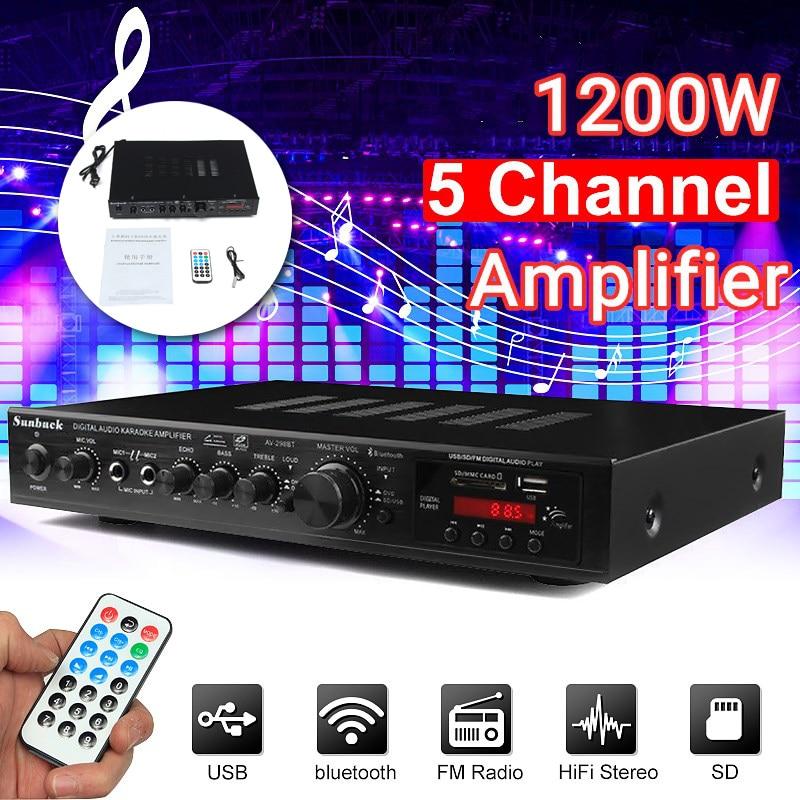 5.0 bluetooth 298BT Power Amplifier LCD Display Audio HiFi 2000W 220V-240V 50Hz 5CH Home Theatre FM