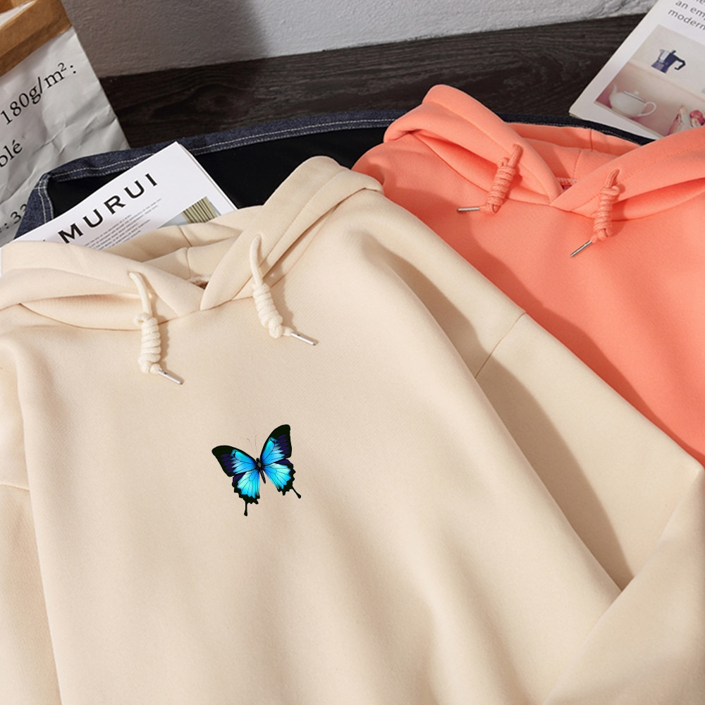Moletom com capuz estampado borboleta, blusão estilo hip hop para meninas, roupas coreanas com capuz, casual, hipster, de inverno