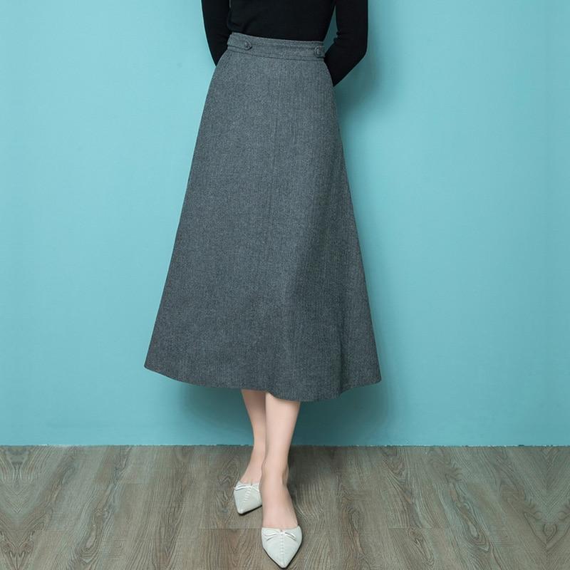 High End Temperament Wool A-Line Skirt Autumn And Winter 2020 New High Waist Slim Fashion Dress