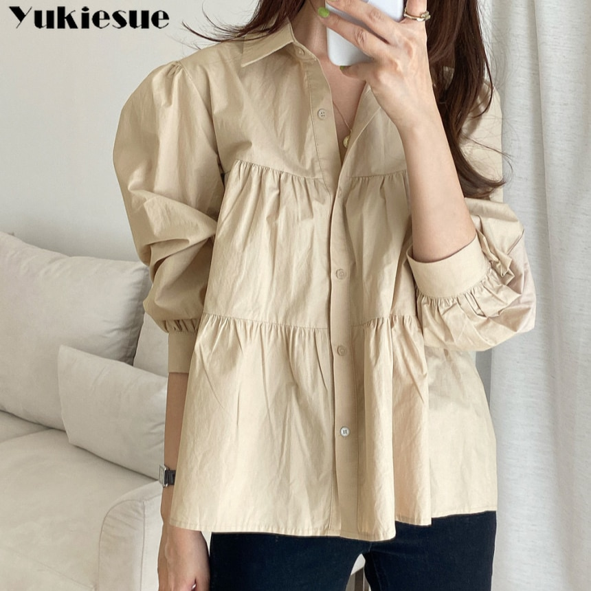 New Fashion Spring Loose Single-breasted Shirts for Women blouse 2021 Turn-down Collar Long Sleeve Female Solid Blouses Tops