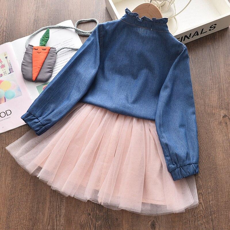 New Sweet Girl Clothing Sets Long Sleeve Girls Coat Elastic Waist Frill Princess Dress Knapsack Baby Girls Children Clothes