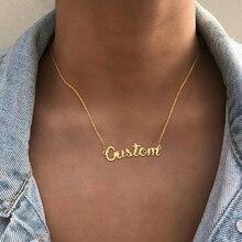 Nom personnalisé colliers pour femmes dame plaque signalétique bijoux en acier inoxydable chaîne Chockers personnalisé lettre Collier Collier