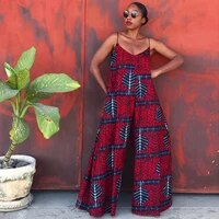 fashion wax hollandais africain 2021 high quality party gown ethnic v neck jumpsuits robe wax nigerian clothes