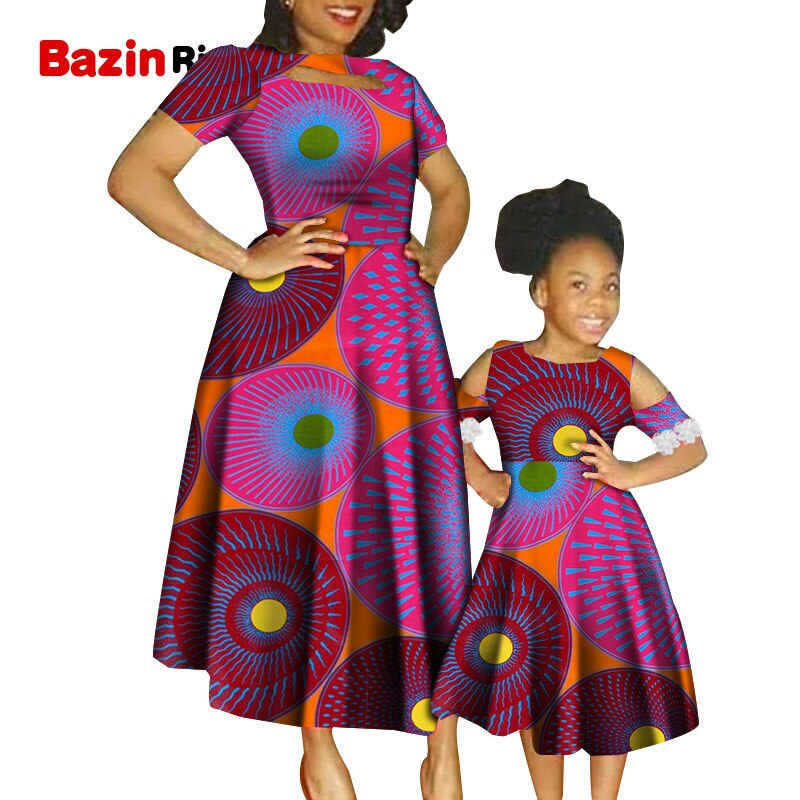WYQ549 Dashiki Anklara vestidos africanos para la madre e hija tela Bazin Africana ropa de Verano de la familia africana