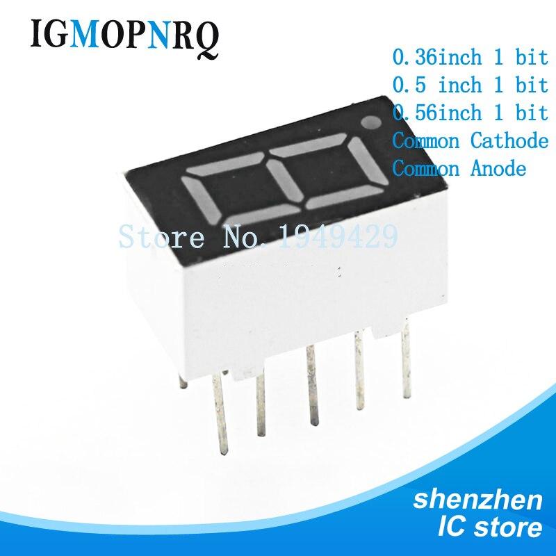 5 unids/lote 7 segmentos cátodo común ánodo 1 Bit tubo digital 0,56 pulgadas rojo LED pantalla tubo Digital LED