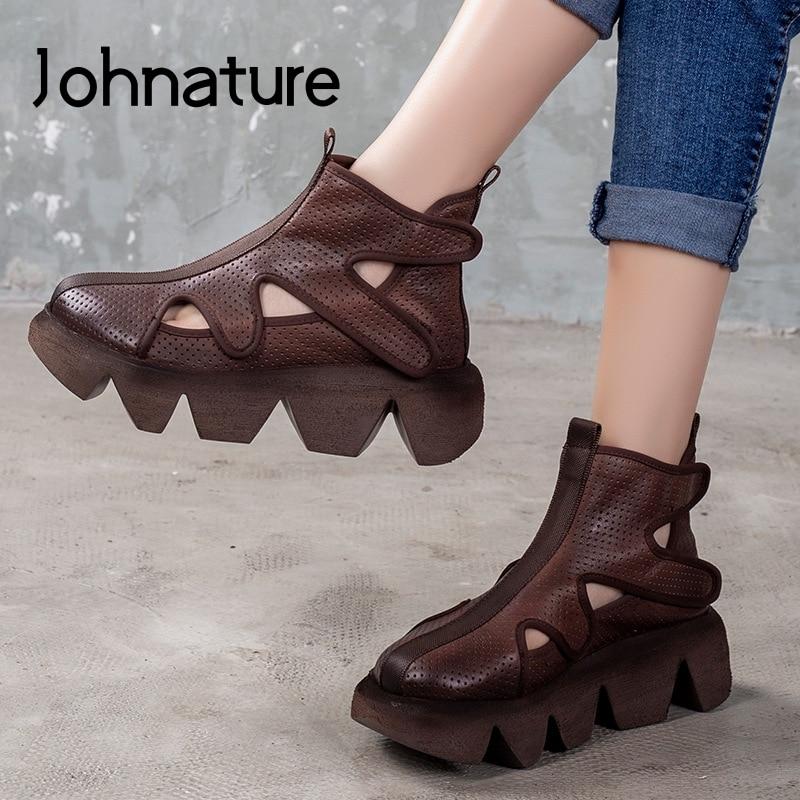 Johnature Platform Sandals 2020 New Spring Genuine Leather Women Shoe Hook & Loop Retro Flat With Sewing Handmade Ladies Sandals