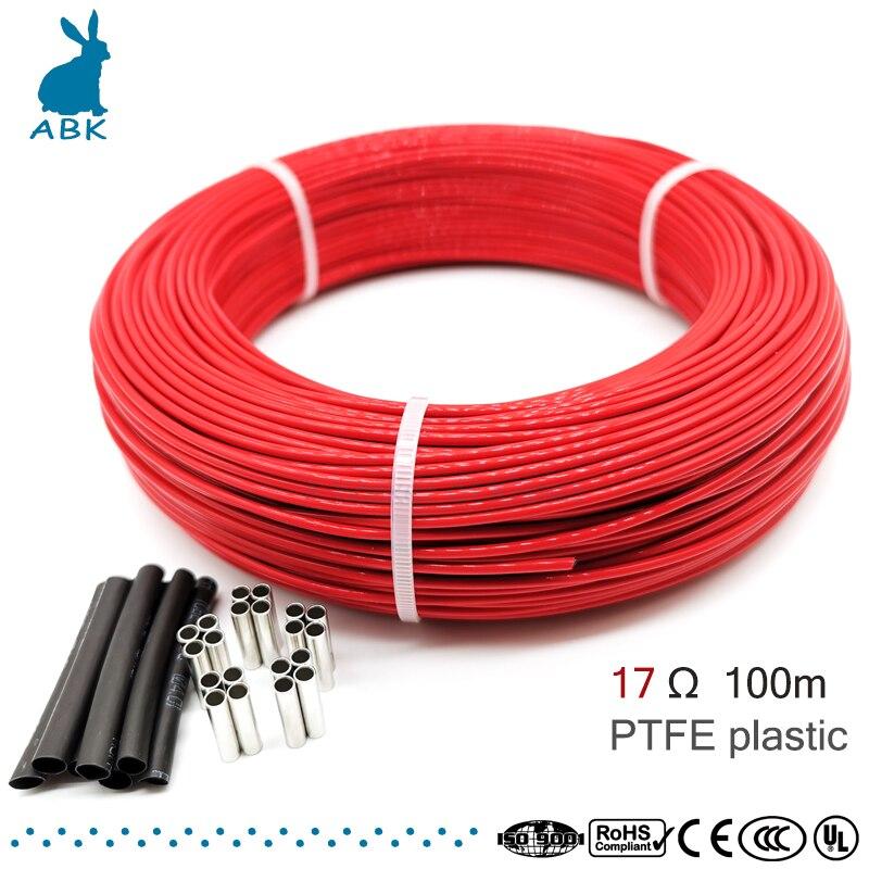 100 metros 17ohm 24k PTFE ignífugo fibra de carbono cable de calefacción DIY cable de calefacción especial para suministros de calefacción