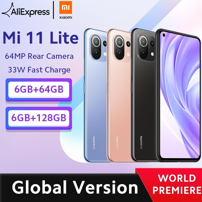 【World Premiere】Global Version Xiaomi Mi 11 Lite Smartphone Snapdragon 732G Octa Core 64GB/128GB 64MP Rear Camera 4520mAh NFC