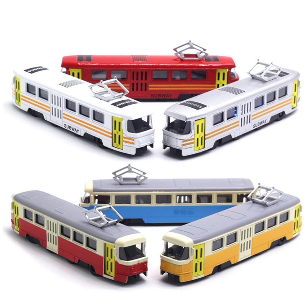 Classic Train Tram Diecast Pull Back Model with LED Music Developmental Kids Toy