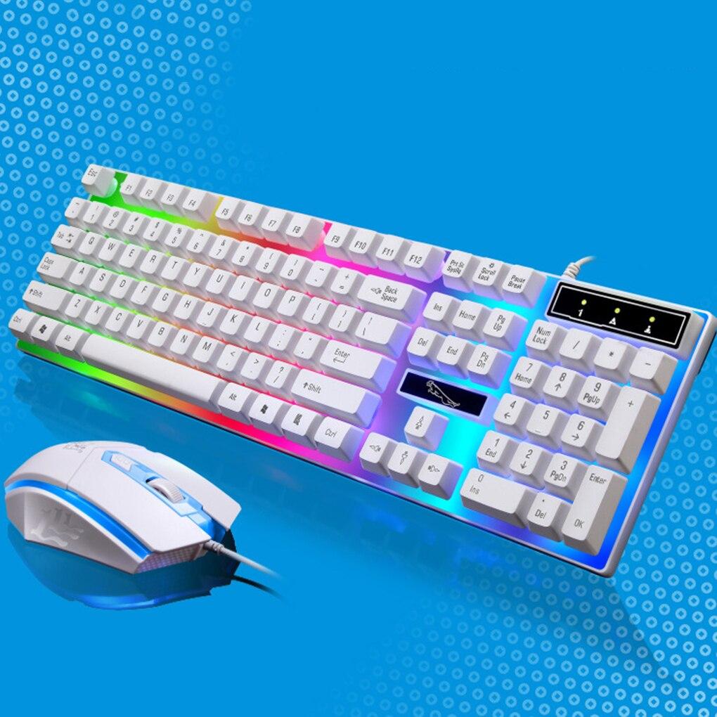 لوحة مفاتيح وماوس G21 سلكية ، USB ، إضاءة خلفية LED ، ألوان قوس قزح ، مثالية لأجهزة كمبيوتر الألعاب