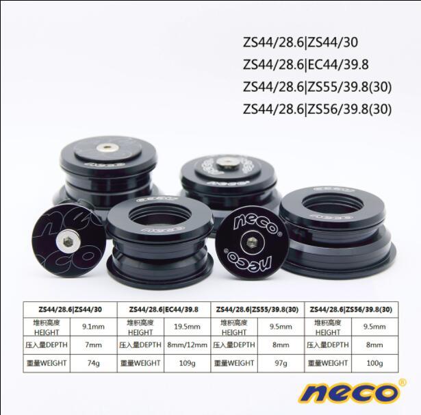 NECO mountain bike head parts straight head tube / cone head parts bearing head parts 44MM/55MM/56MM front fork accessories