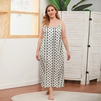 large size new dress with a halter in color imitation silk midi skirt white polka dot sleeveless dress with loose waist