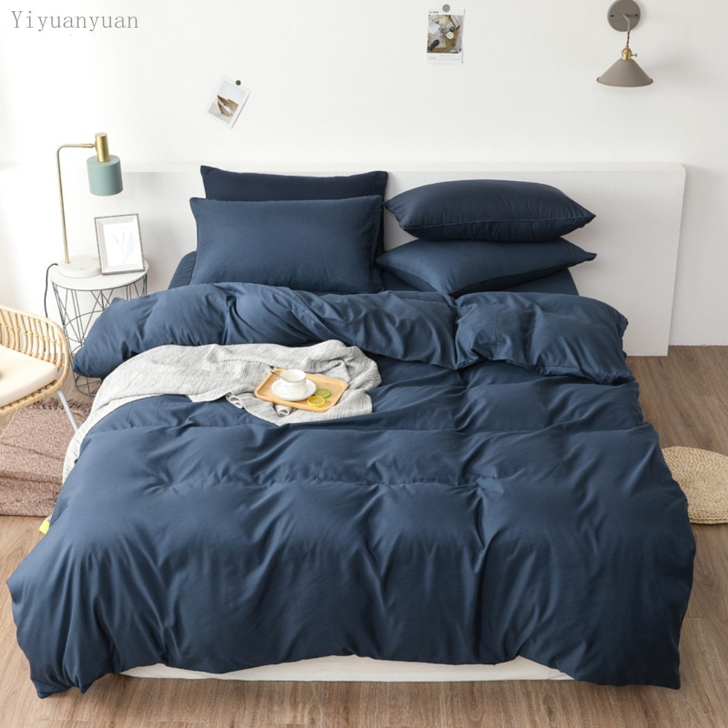 3-4 قطعة/المجموعة غطاء لحاف بلون غطاء لحاف من القطن الخالص تصميم جهين العالمي طقم سرير غطاء سرير + المخدة