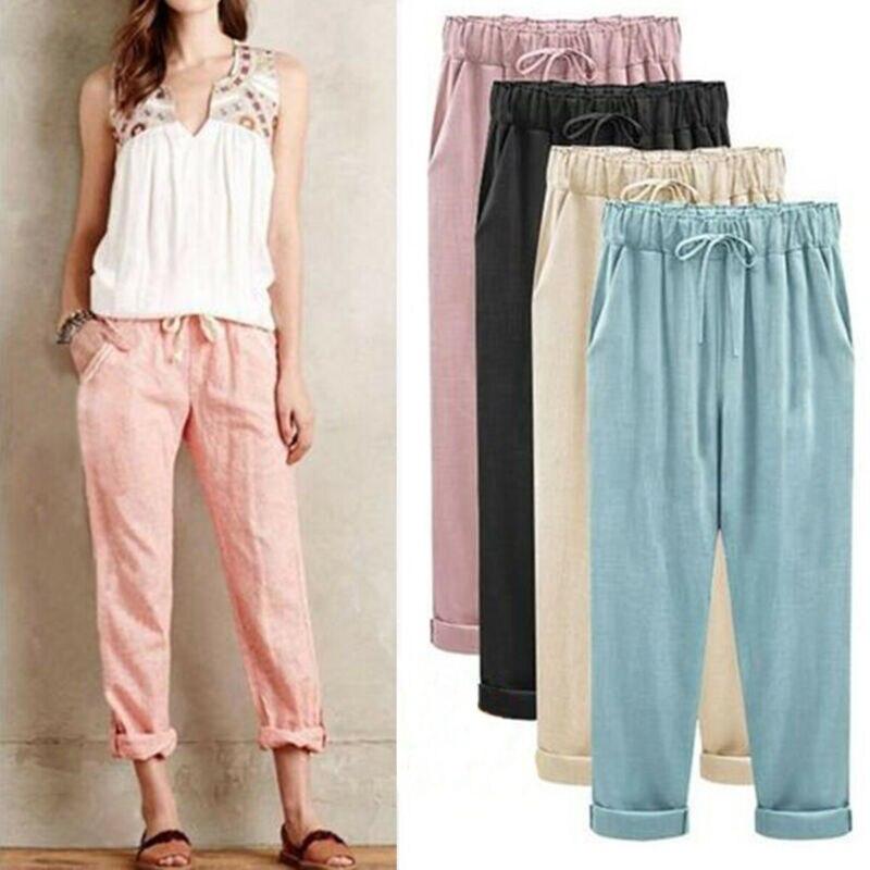 2019 nowych moda kobiet elastyczna wysokiej talii bawełna pościel Harem spodnie plażowe spodnie Plus rozmiar