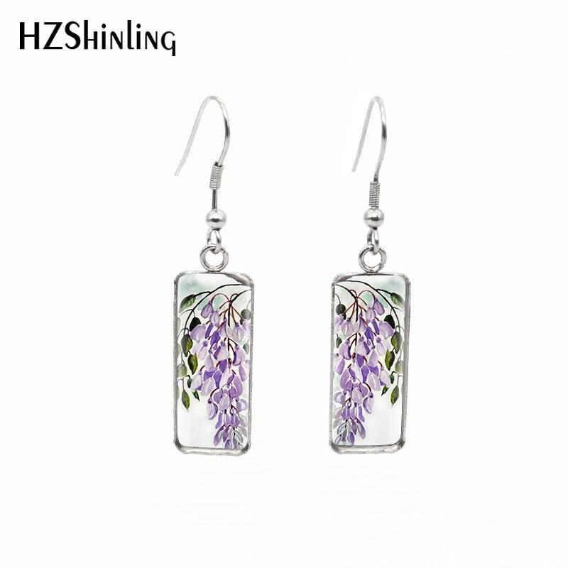 2020 nuevo Wisteria flor Rectangular pendiente de cristal de pescado Hool pendientes de cúpula de vidrio de pendiente con diseño de Ángel regalos chica