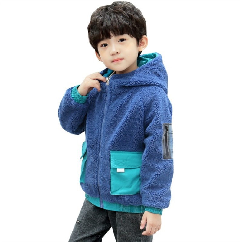 Boys' autumn and winter models jacket for children thick warm jacket medium and large children fashionable winter clothes enlarge