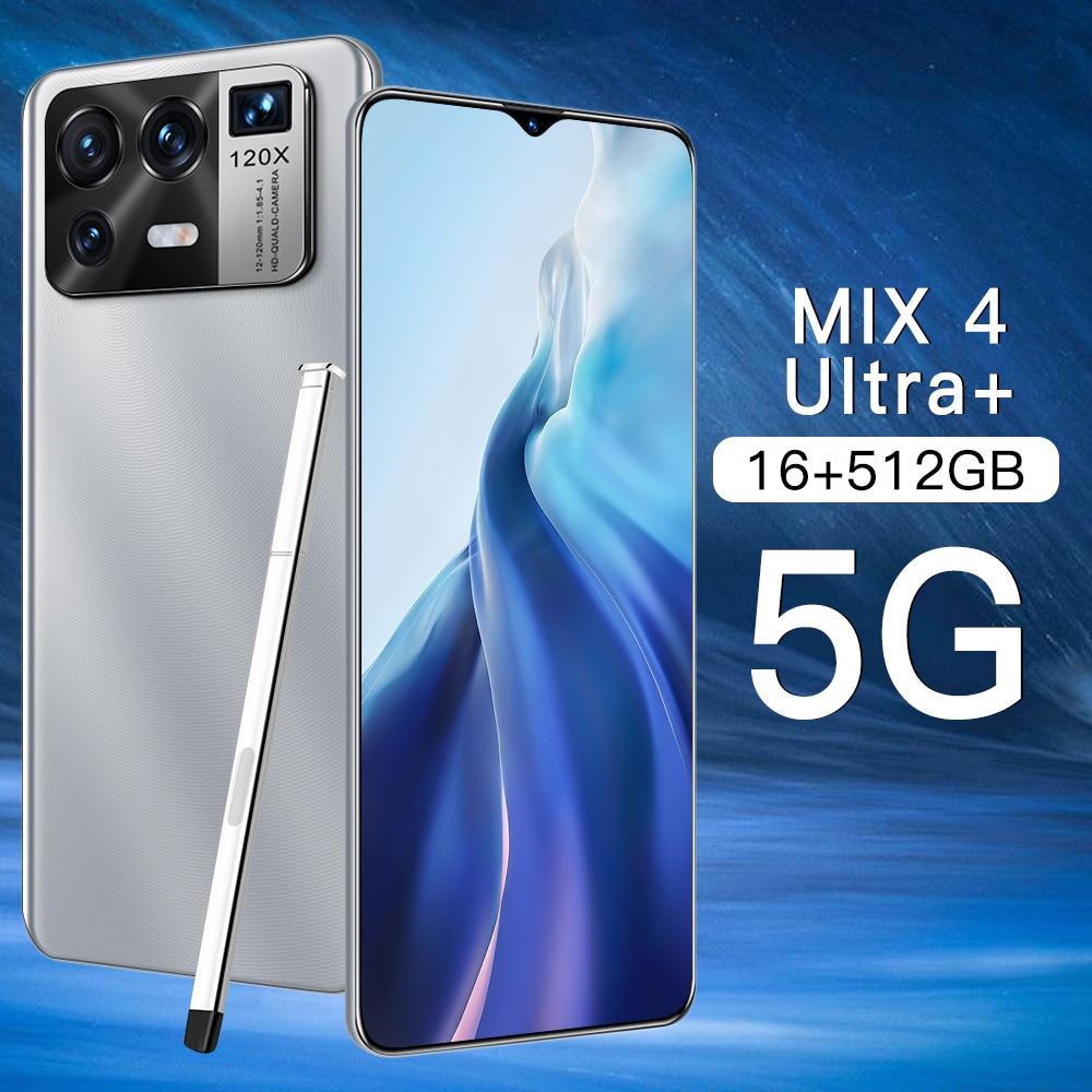 2021 الأصلي مزيج 4 الترا 6.7 بوصة الهاتف الذكي 16G + 512G 6800mAh كامل الشاشة 32 + 50 ميجابكسل الوجه مقفلة 5G شاحن هاتف محمول يعمل بنظام تشغيل أندرويد