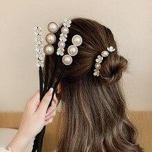 Donna elegante perla capelli Bun Maker strumento ragazza fiore coda di cavallo fascia acconciatura ciambella accessori per capelli Braider Twist copricapo