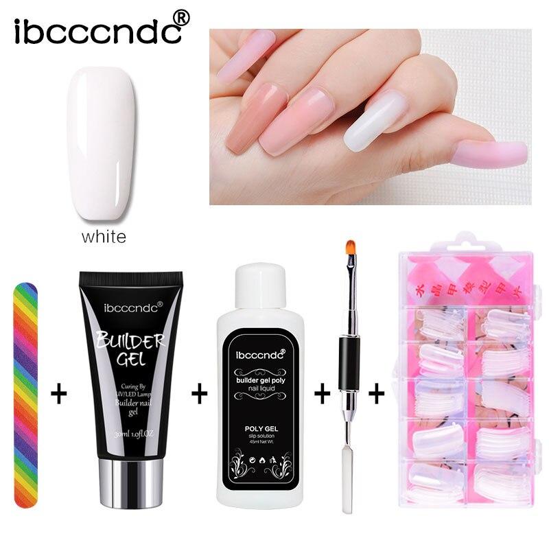 Набор для быстрого наращивания ногтей, 30 мл, полигель-лак для наращивания ногтей, полигель, жесткий УФ-лак, набор для дизайна ногтей
