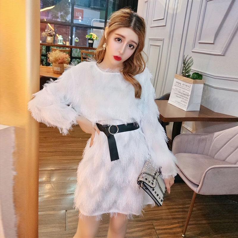 Women's Winter Dress Feather Tassel Bow Belt Autumn Long Sleeve High Waist Lady Bodycon Mini Dresses Club Vestido Female LS253