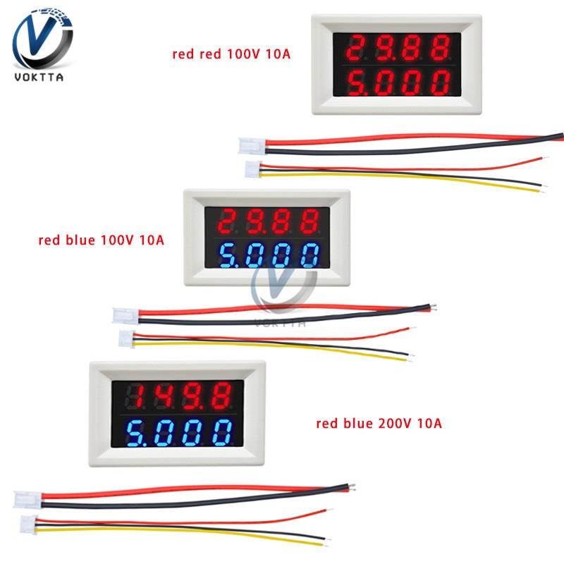 DC100V 200V 10A voltímetro Digital amperímetro rojo azul 4bit doble pantalla LED de alta precisión medidor de voltaje medidor de corriente con 5 hilos