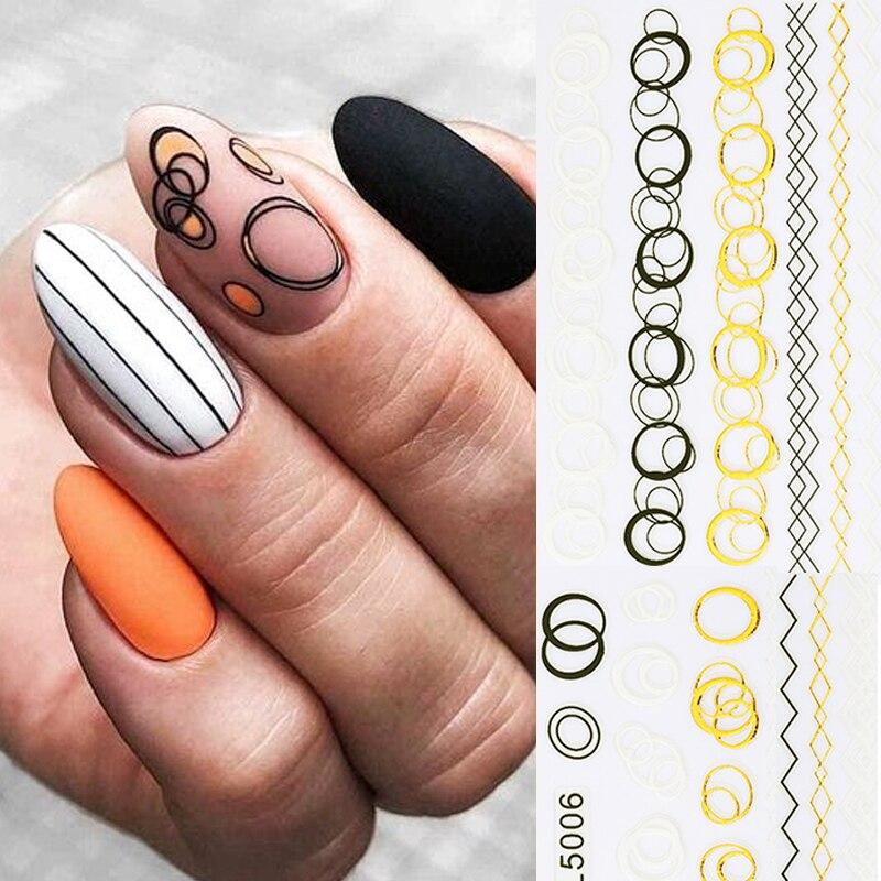 1 pièces or 5D autocollant pour ongles courbe rayures lignes ongle curseur dégradé adhésif géométrique feuille dongle décalcomanies