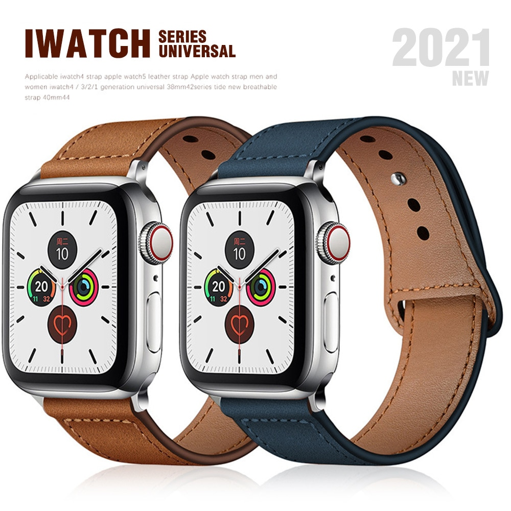 brown leather band loop strap for apple watch 6 se 5 4 3 2 38mm 40mm men leather watch band for iwatch 5 4 44mm 42mm bracelet Genuine Cow Leather loop Bracelet Belt Band for Apple Watch 6 SE 5 4 3 42MM 38MM 44MM 40MM Strap for iWatch 6  SE 5 4 Wristband