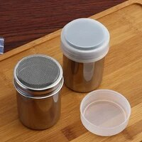 small and large stainless steel coffee chocolate shaker cocoa coffee powdered sugar flour sieve shaker with lid