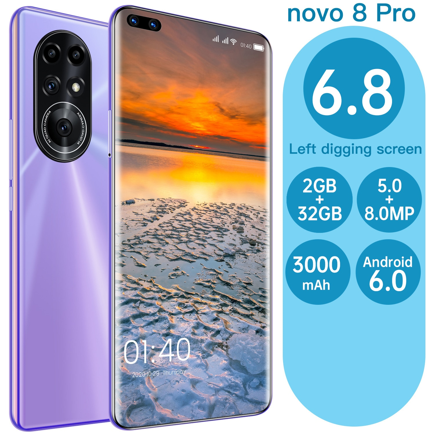 Novo 8 Pro Smratphone Android System 5MP + 8MP HD Camera Mobile Phone 6.8 Inch 2 GB RAM + 32GB ROM Large Memory Cellphone