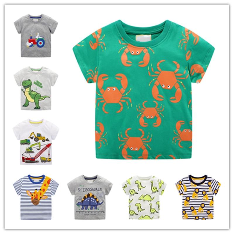 Camiseta infantil para bebés, Camiseta con estampado de dinosaurio para niños, camisetas para niños, camisetas de dibujos animados, camisetas para niños, ropa de 2 a 7 años