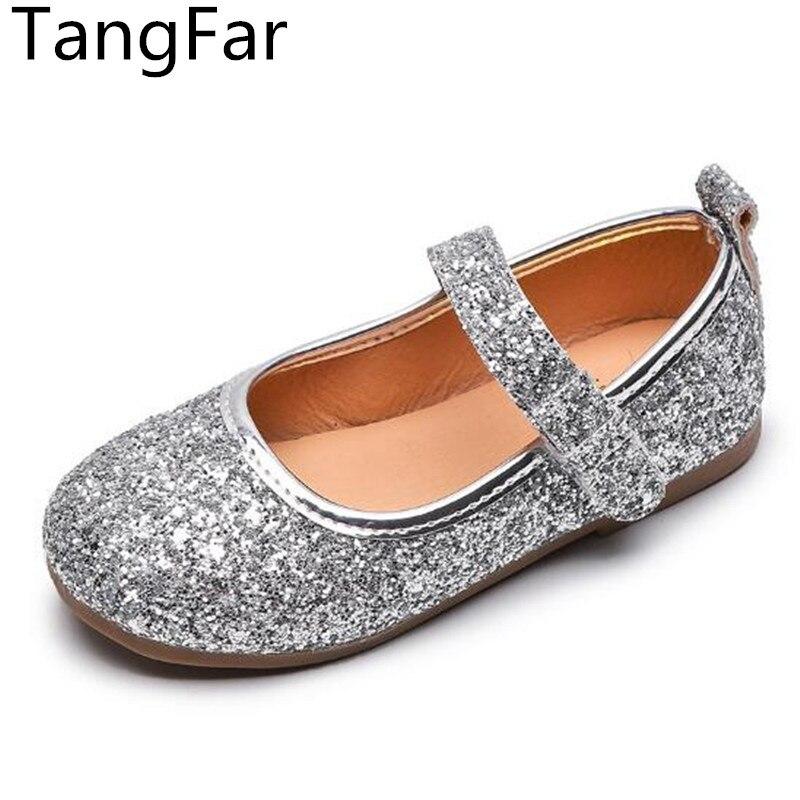 Neue Mädchen Leistung Tanzen Schuhe PU Leder Prinzessin Glänzenden Müßiggänger Mode Flacher Heraus Hochzeit Chaussures Enfant