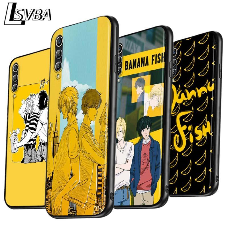 Anime dos desenhos animados banana peixe anti-queda caso de telefone para samsung galaxy a90 a80 a70s a60 a50s a40 a20e a20 a10s capa preta macia