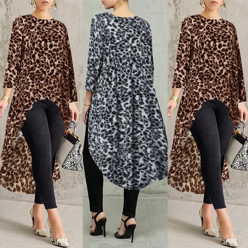 ZANZEA 2020 Sexy léopard hauts femmes imprimé Blouse mode à manches longues t-shirts femme asymétrique Blusas tunique de grande taille