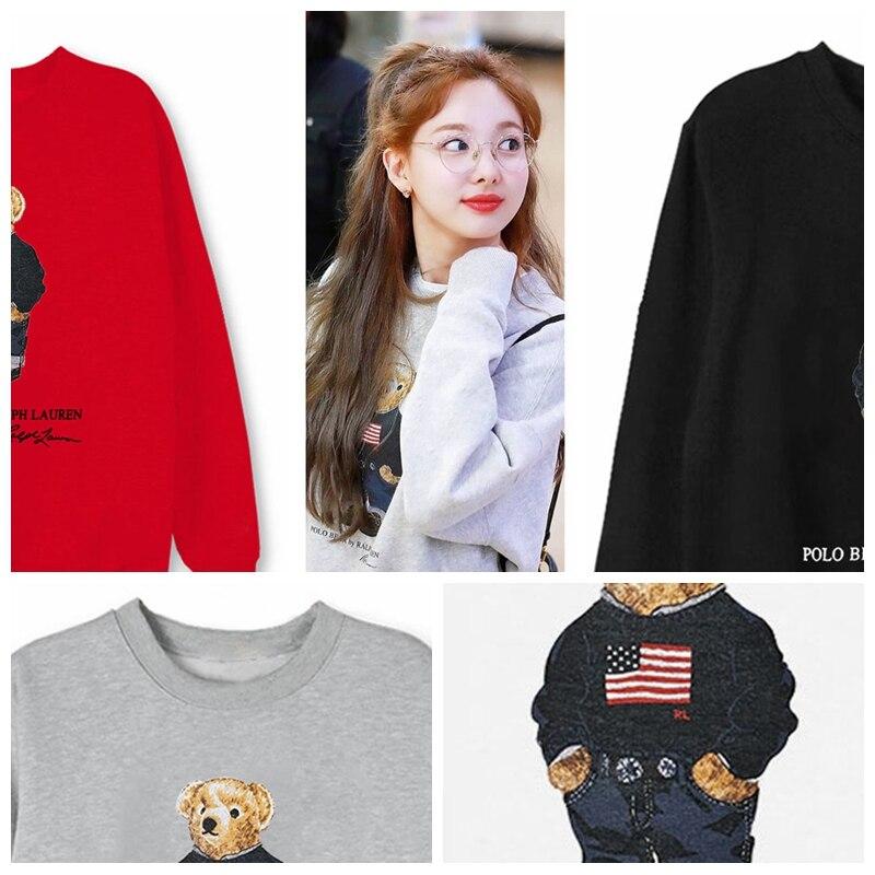 Толстовки с рисунком медведя из мультфильма Twice Lim Na Yeon, пуловеры для мужчин и женщин, пуловер, толстовка для пары, уличная одежда, топы Kpop, 4 цв...