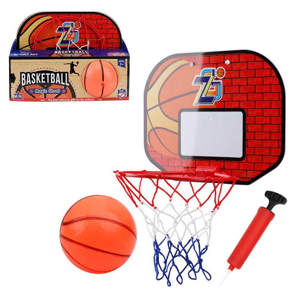 1 Set Hanging Basketball Hoop Basket Ball With Pump Mini Basketball Board Hoop For Indoor Baskeball Game Adult Children Kids