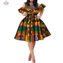 Nieuwe Vrouwen Kleding Afrikaanse Jurken Voor Vrouwen Afdrukken O-hals Jurken Vestidos Bazin Riche Afrikaanse Ankara Party Korte Jurken WY5502