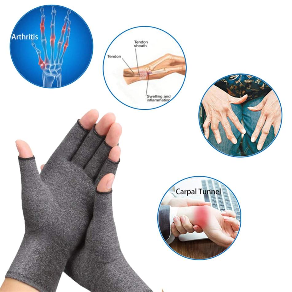 Guantes para artritis de compresión, soporte de muñeca de algodón, alivio del dolor articular, pulsera terapéutica para hombre y mujer, 1 par