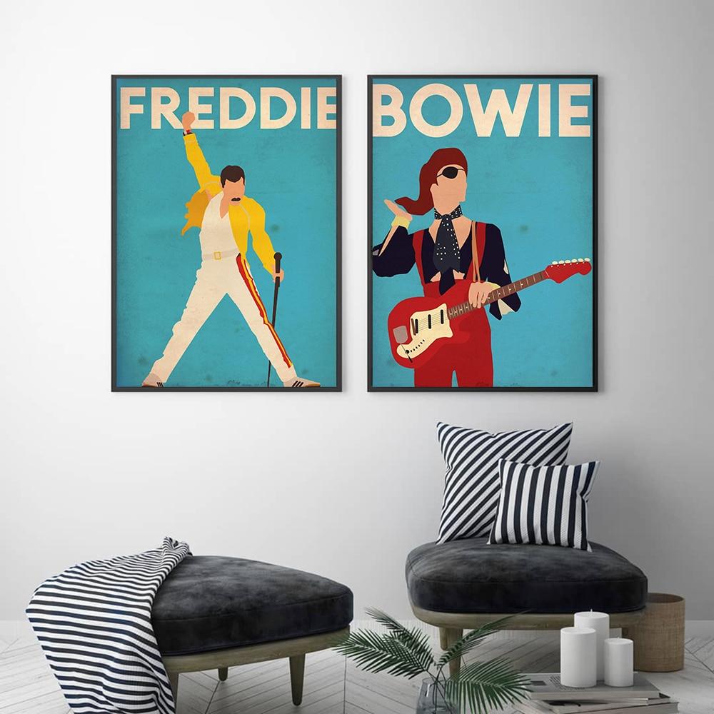 Póster e impresiones sobre lienzo Vintage de Freddie Mercury, imagen de David Bowie Singer en la pared, decoración decorativa abstracta para el hogar