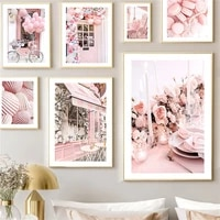 pink flower balloon fashion paris tower car street wall art print canvas painting nordic poster decor pictures for living room