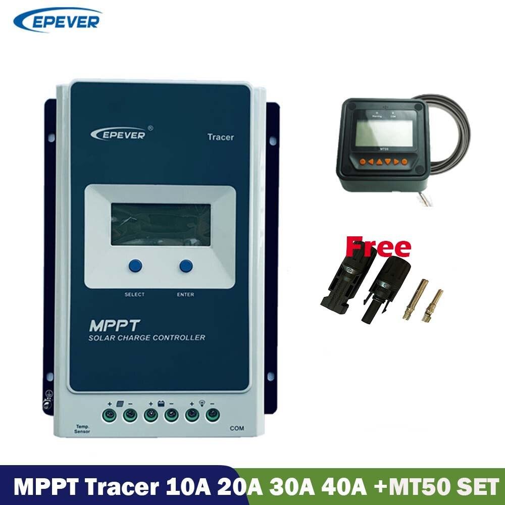 EPever MPPT 40A 30A 20A 10A mando de cargador Solar LCD 12V 24V Auto rastreador control remoto medidor de MT50 de controlador de Panel Solar