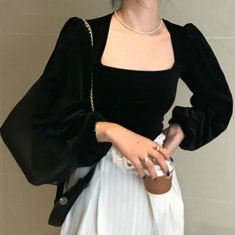 Neploe Retro oro Velet cuadrado Collar Puff manga corta Camiseta sólida Slim Fit temperamento otoño primavera nueva camiseta 2020