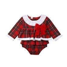 2019 princesse bébé fille vêtements de noël à volants rouge carreaux body Autmn nouveau-né fille à manches longues arc combinaison robe 0-24M
