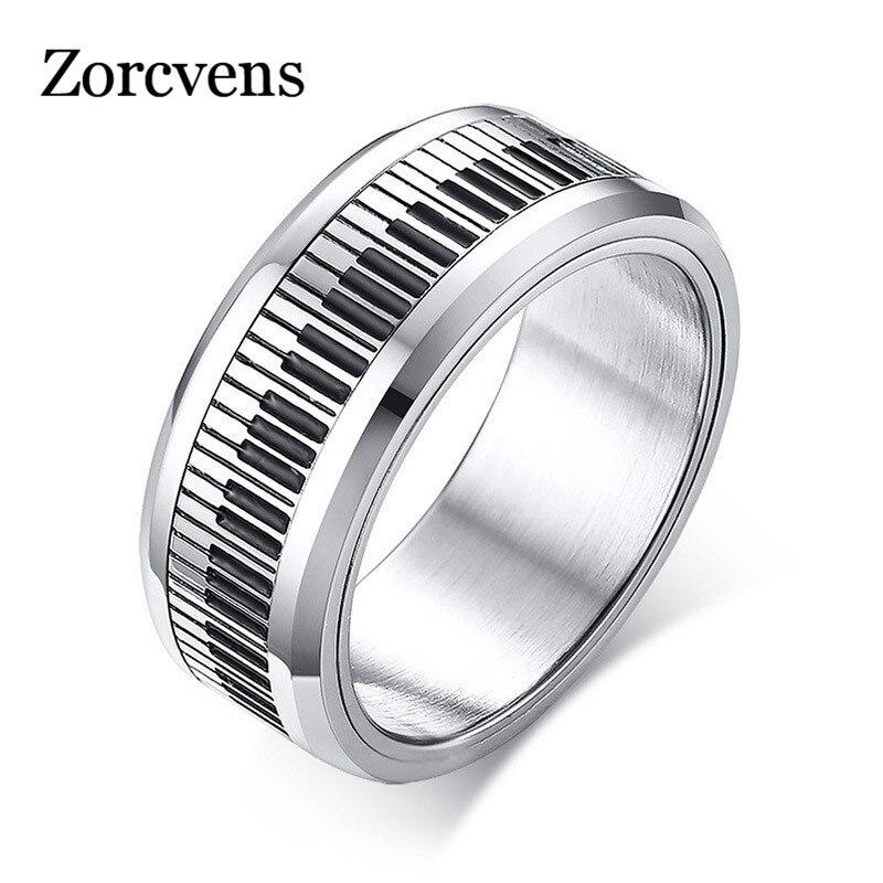 Modyle rotatable piano chaveiro para homens banda de aço inoxidável à moda spinner banda música amante músico presente jóias