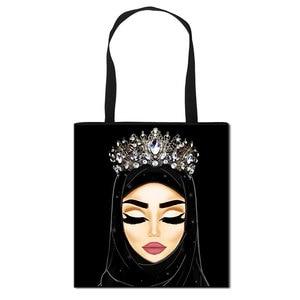 Hijab Face Muslim Shoulder Bag Women Casual Totes Large Capacity Ladies Shopping Bags Islamic Gril Handbag Travel Bags
