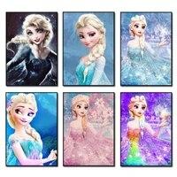 Peinture de diamant theme disney  perles carrees et rondes  Kit Elsa  points de croix  broderie complete 5D  decoration de maison  a faire soi-meme