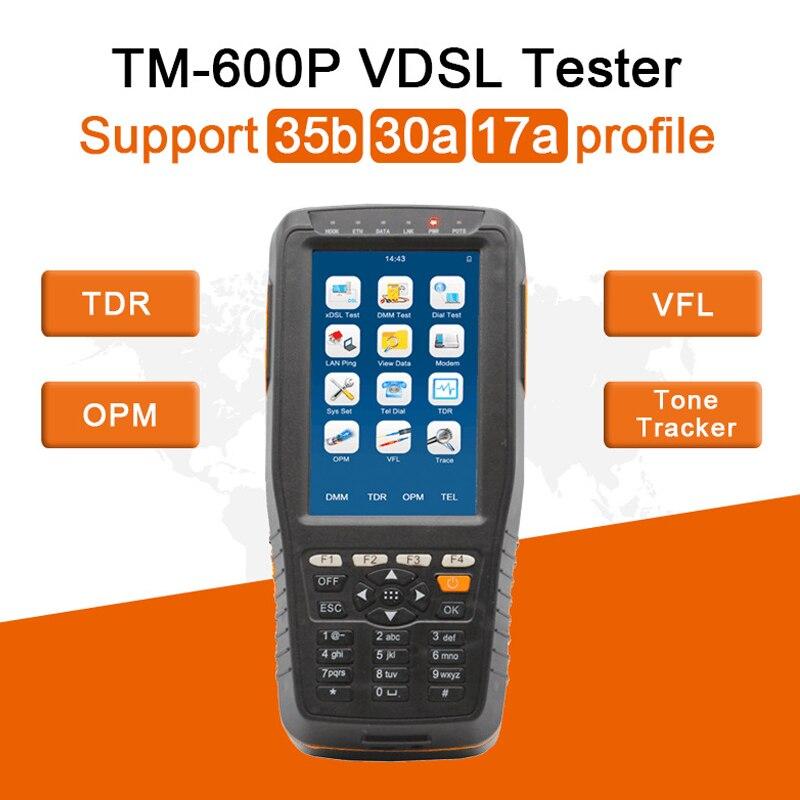 TM600P VDSL probador-pwoer de apoyo 35b 30a 17a Profil-funciones completas TM-600 de PON VFL de rastreador de tonos TDR localizador de fallas de cable