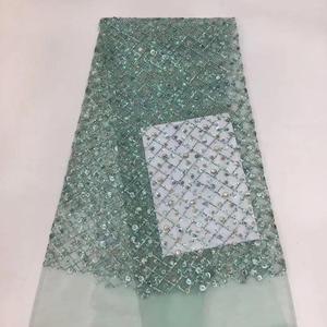5yards African Lace Fabric Beautiful Design Organza Lace Fabric French Net Tulle Lace Fabric Nigerian Sequins Lace     DPJUN012