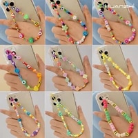 huanzhi 2021 fashion bohemian style colored soft clay smiley beads letter love phone chain for ladies girls summer party jewelry