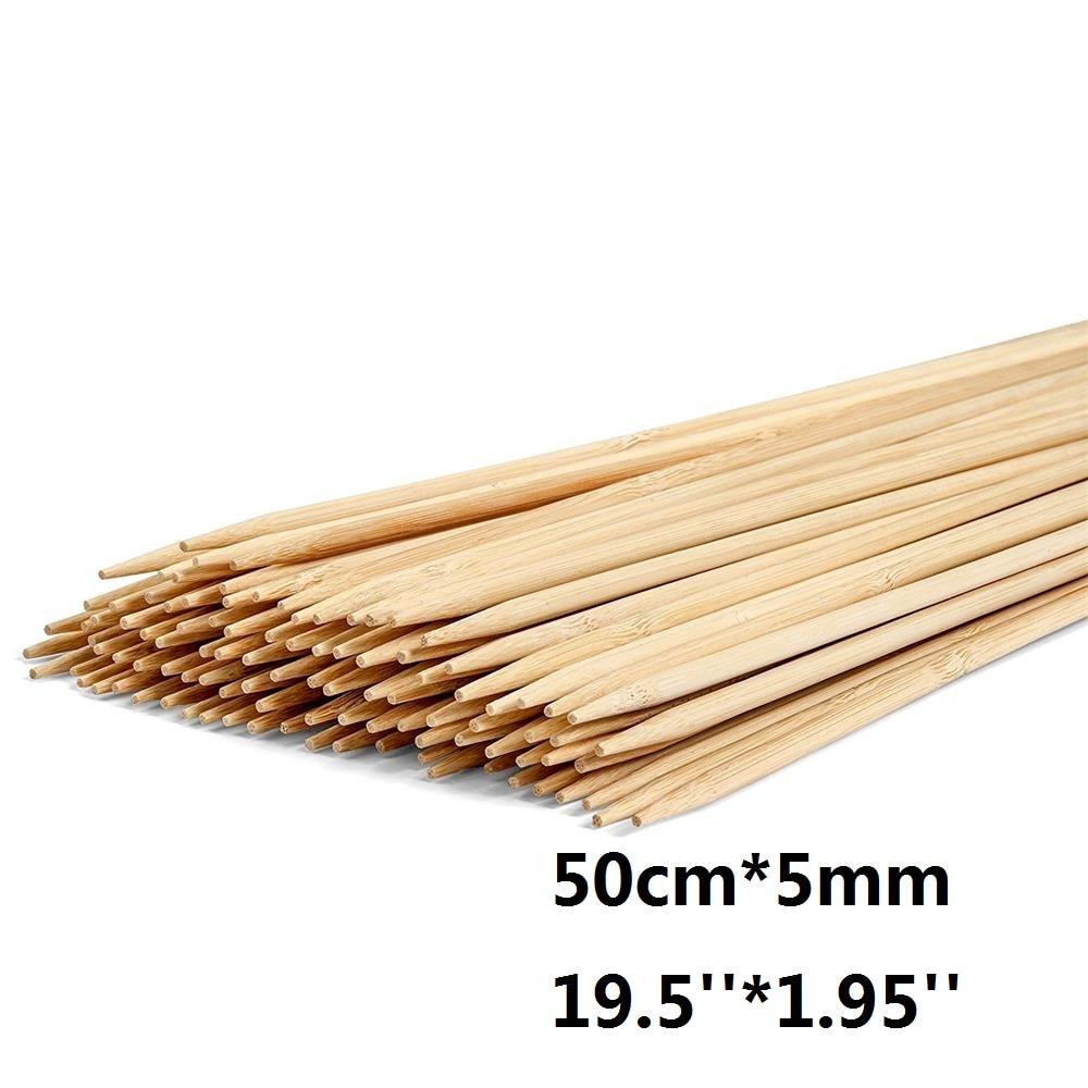 50 سنتيمتر * 5 مللي متر طويل أسياخ الشواء من الخيزران خشبية البطاطس الخطمي عصي تحمير الخشب الطبيعي الشواء سيخ مجموعة بار 100 قطعة/200 قطعة