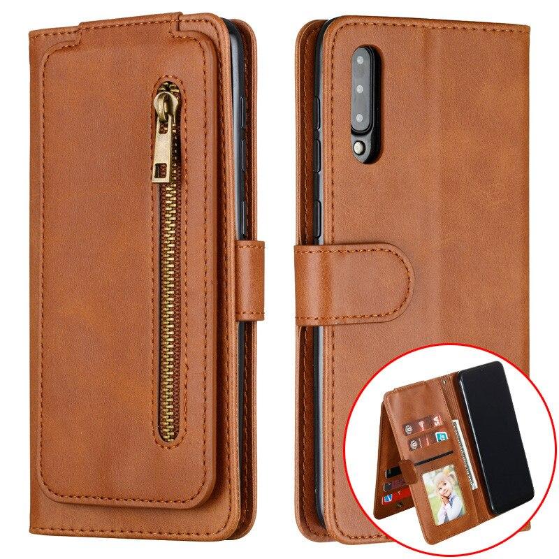 Lujosa funda abatible de cuero para Samsung Galaxy A50S A30S A20S A10S, billetera con cremallera, funda para tarjetas para Samsung A70S, fundas, carcasa Etui